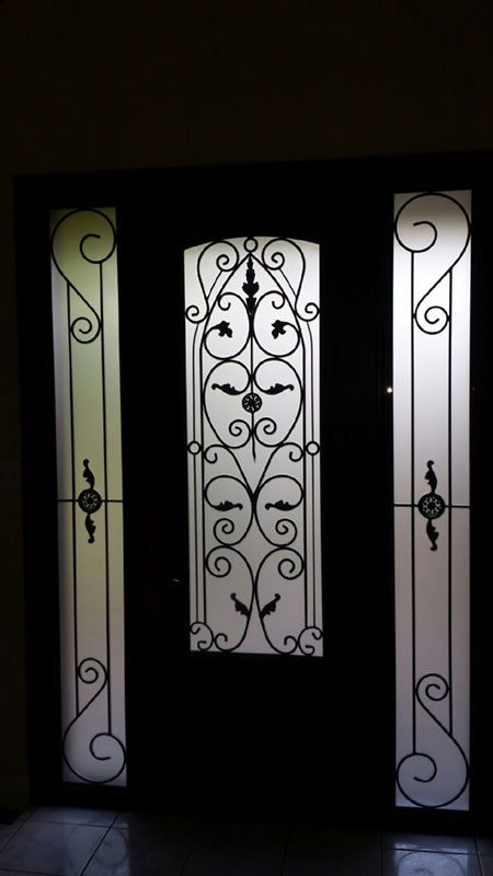 Wrought Iron Fiberglass Doors With 2 Side LItes Installed in Oakville-Inside View