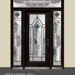 Bewerley Design Wrought Iron Stained Glass Fiberglass Door with 2 Side Lites and Rectangle Transom