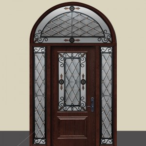 GENEVA Design Iron Art and Stained Glass Fiberglass Door with 2 Side Lites and Arched Transom