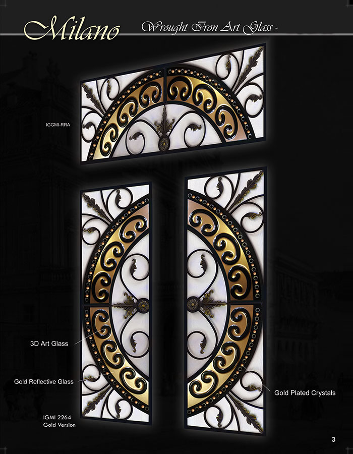 Milano Design Wrought Iron Fiberglass With 3D Design Stained Glass and Transom by Windows and Doors Toronto