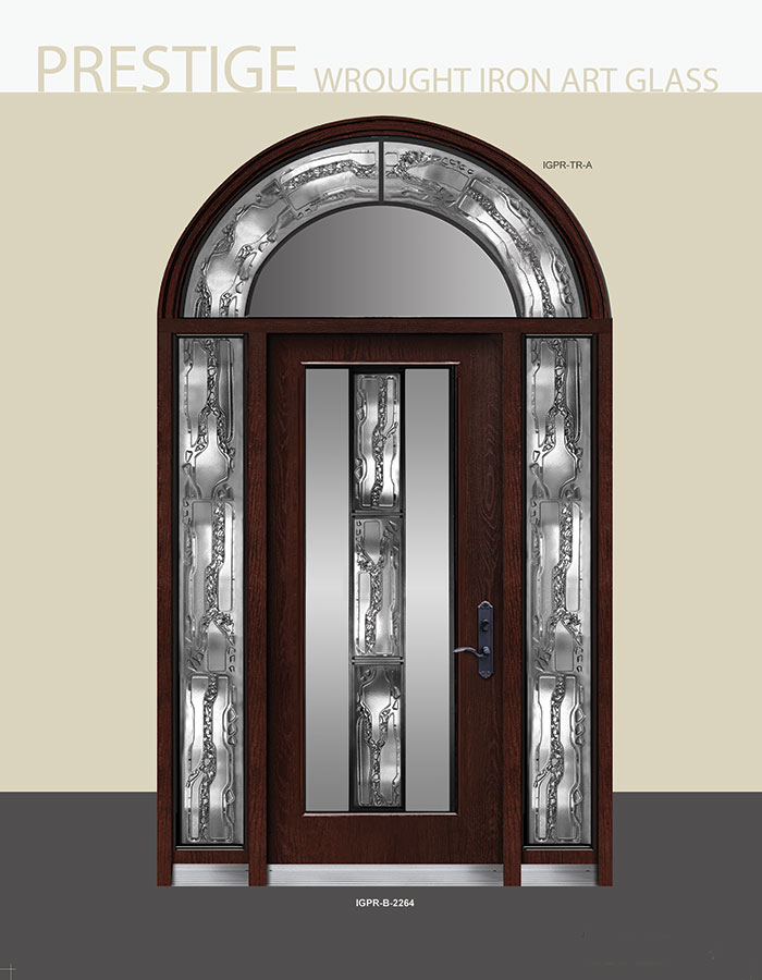 Prestige Wrought Iron Design with Stained Glass and Arched Transom by Windows and Doors Toronto