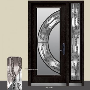 Prestige Wrought Iron Stained Glass Design Door with Side lite by Windows and Doors Toronto