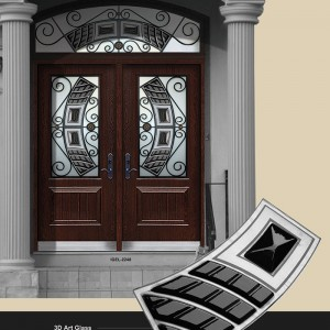 Stainless Steel and 3D Art Glass and Arched Transom Fiberglass Doors by Windows and Doors Toronto