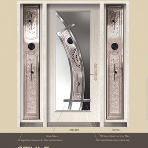 Style Design Stainless Steel with Ceramic and Stained gLass with 2 Side Lites by Windows and Doors Toronto