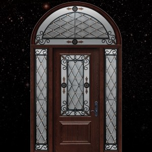 Wrought Iron Art Design Fiberglass Door with 2 Side Lites and Arched Transom
