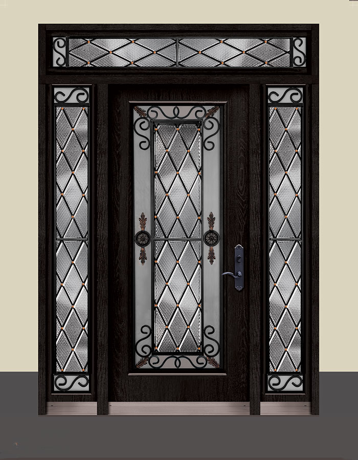 Wrought Iron Geneva Design with Stained Glass and 2 Side Lites and Transom by Windows and Doors Toronto