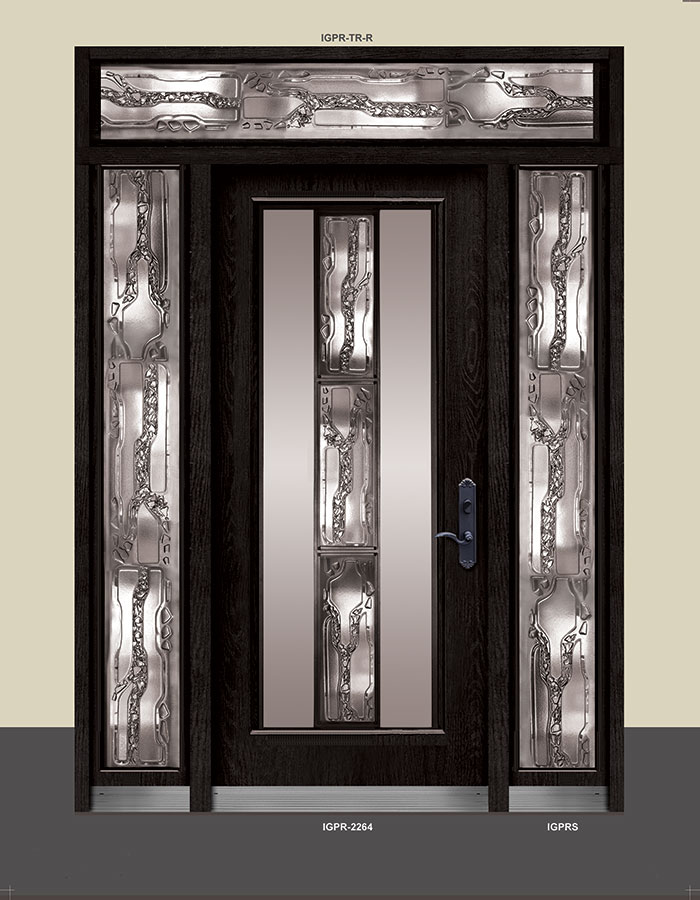 Wrought Iron Stained Glass Door with 2 Side lites and Transom by Windows and Doors Toronto