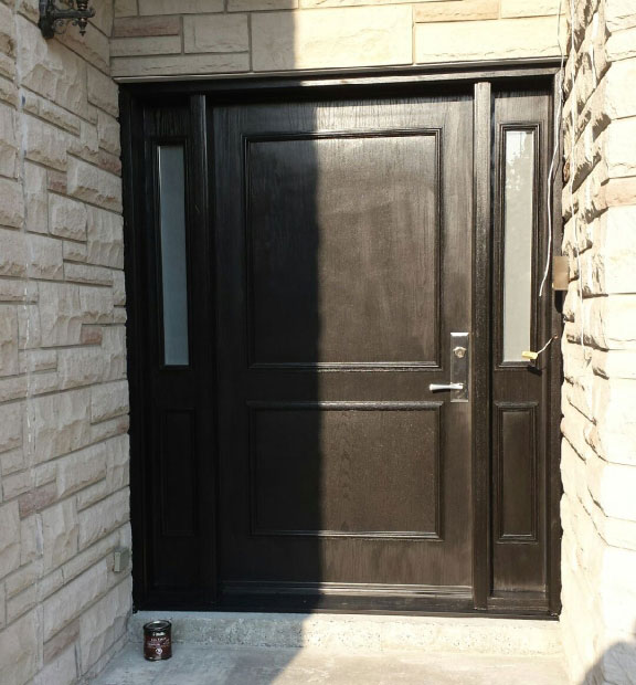 Fiberglass Executive Woodgrain Doors with 2 side lites