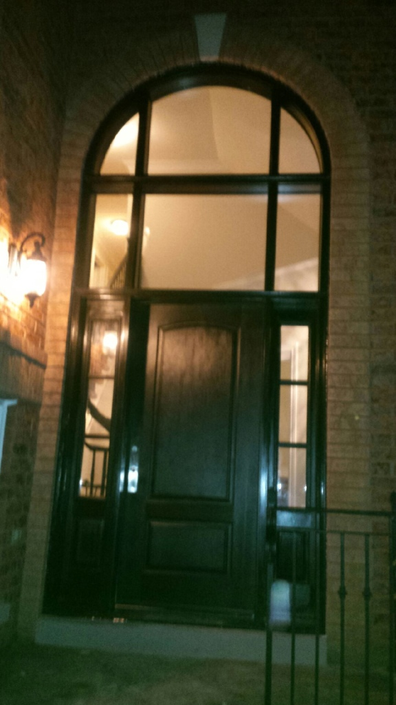 Custom Fiberglass Excutive Door with Clear Side lites and huge Transom Installed in Woodbridge