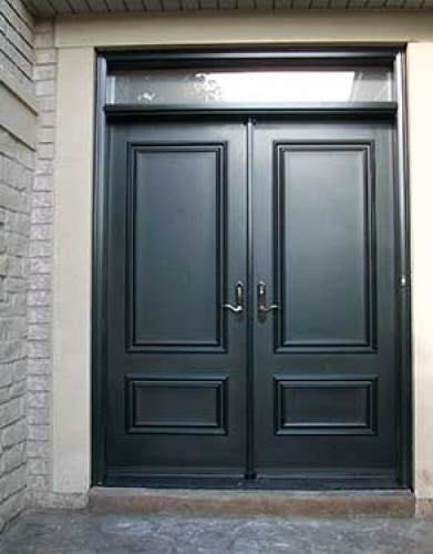 Windows and Doors Toronto-Smooth Fiberglass Doors-Smooth Doors, Exterior Solid Fiberglass Double Doors with Transom installed  by Windows and Doors Toronto