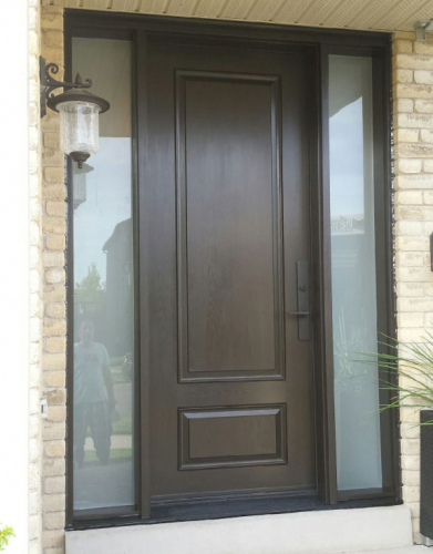 Fiberglass Exterior Door with 2 Frosted Side Lites and Multi Point Locks installed in Toronto