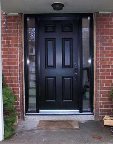 Windows and Doors Toronto-Smooth Fiberglass Doors-Exterior Smooth Door with 2 Side Lites installed by Windows and Doors Toronto