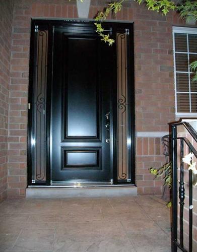 Windows and Doors Toronto-Smooth Fiberglass Doors-Smooth Door with 2 Side lights installed in Brampton by Windows and Doors Toronto