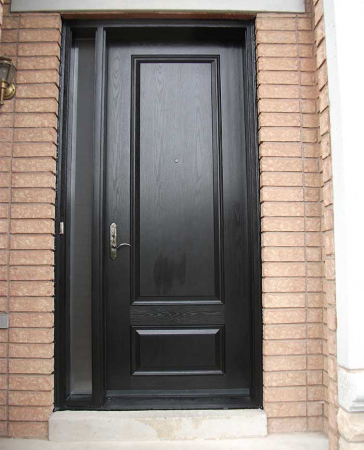 Windows and Doors Toronto-Fiberglass Doors-8 Foot Doors-Single-Solid-Fiberglass-Front-Door-with-Slim-Side-Light-Installed- by  Windows and Doors Toronto in-Oshawa