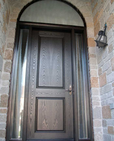 Windows and Doors Toronto-Fiberglass Doors-8 Foot Doors-Single-Solid-Front-Door-with-2-Glazed-Side-Lites-and-Matching-Art-Transom-Installed- by Windows and Doors Toronto in-Newmarket
