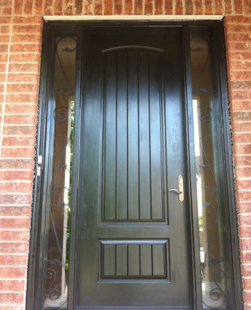 Windows and Doors Toronto-Fiberglass Doors-8 Foot Doors-Single-Solid-Rustic-Front-door-with-2-iron-Art-Side-Lights-Installed- by Windows and Doors Toronto in-Scarborough