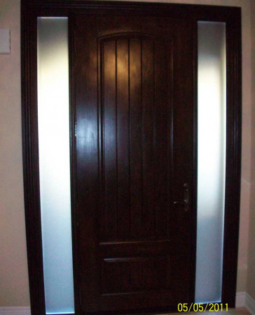 Windows and Doors Toronto-Fiberglass Doors-8 Foot Doors-Solid-Rustic-Door-with-2-frosted-Side-Lights-Installed- by Windows and Doors Toronto in-Newmarket-Ontario