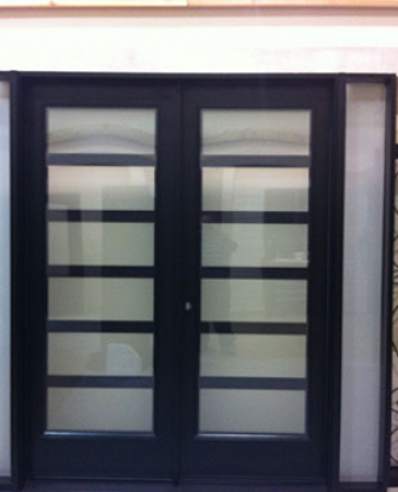 Windows and Doors Toronto-8 Foot Doors-Fiberglass Modern Doors with 2 Side Lites and Frosted Glass Installed by Windows and Doors Toronto in Oakville