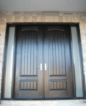 Windows and Doors Toronto-Fiberglass Doors-8 Foot Doors-Fiberglass-Rustic-Parliament-Front-Doors-with-2-Frosted-Slim-Side-Lites-Installed- in Richmond Hill by Windows and Doors Toronto