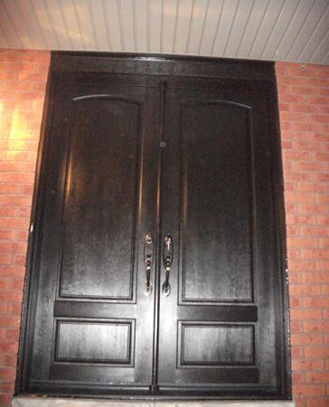 Windows and Doors Toronto-8 Foot Doors-Fiberglass Wood Grain Double Doors with Multi Point Locks Installed in Toronto by Windows and Doors Toronto