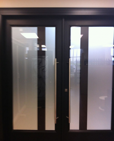 Windows and Doors Toronto-8 Foot Doors-Fiberglass Doors-Modern Fiberglass Double Doors with Frosted Glass by Windows and Doors Toronto