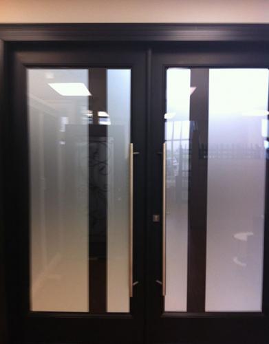 Windows and Doors Toronto-8 Foot Doors-Fiberglass Doors-Modern Fiberglass Double Doors with Frosted Glass