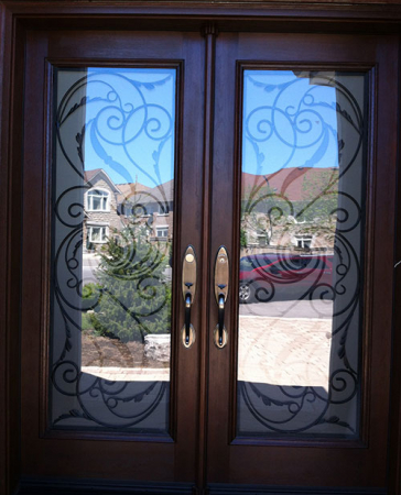 Windows and Doors Toronto-8 Foot Doors-Fiberglass Doors-Wrought Iron Woodgrain Milan Design Double Doors Installed By Windows and Doors Toronto