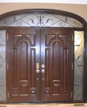8 Foot Doors-Fiberglass Doors-8 Foot Fiberglass Double Doors Parliament Design with 2 Iron Arts Side Lites and Transom Installed by Windows and Doors Toronto in Richmond Hill