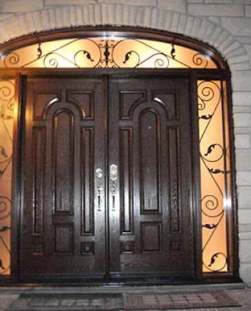 Windows and Doors Toronto-8 Foot Doors-Fiberglass Doors-8 Foot Fiberglass Double Doors Parliament Design with 2 Iron Arts Side Lites and Transom Installed in Richmond Hill by Windows and Doors Toronto