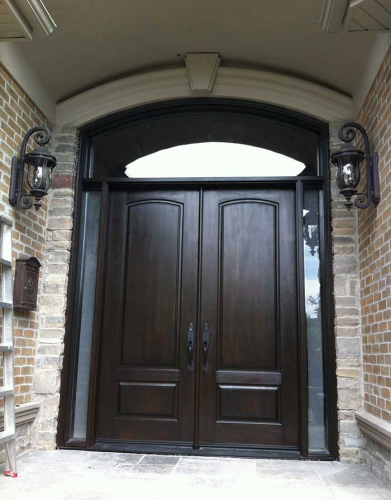 Windows and Doors Toronto-Fiberglass Doors-8 Foot Doors-Fiberglass-Double-Solid-Parliament-Front-Door-with-2-Side-Lights-and-Matching-Art-Transom in Burlington Installed- by Windows and Doors Toronto