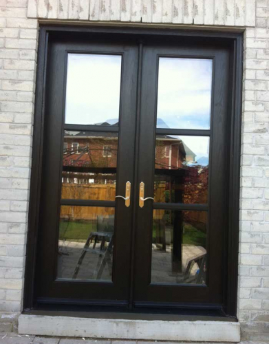 Windows and Doors Toronto-Fiberglass Doors-8 Foot Doors-Fiberglass-French-Door-Installed-in-Back-Yard- by Windows and Doors Toronto in Aurora