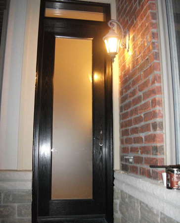 Windows and Doors Toronto-Fiberglass Doors-8 Foot Doors-Fiberglass-Glass-Design-Single-Back-Yard-Door-With-Transom-Installed-in Oshawa by Windows and Doors Toronto