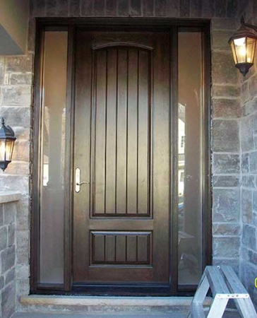 Windows and Doors Toronto-Fiberglass Doors-8 Foot Doors-Fiberglass Single–Solid-Rustic-Door-with-2-frosted-Side-Lites-Installed- by Windows and Doors Toronto in Thornhill