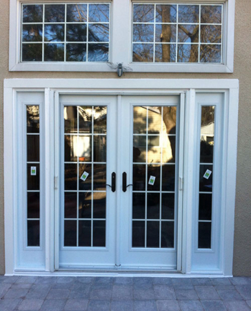 Windows and Doors Toronto-Fiberglass Doors-8 Foot Doors-8 Foot French Doors with 2 Side Lites and  Transom Installed by Windows and Doors Toronto