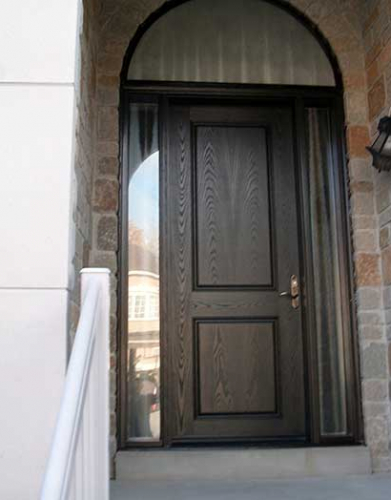 Windows and Doors Toronto-Fiberglass Doors-8 Foot Doors-8-Foot-Front-Door-with-2-Glazed-Side-Lites-and-Matching-Art-Transom-Installed- by Windows and Doors Toronto in-Newmarket