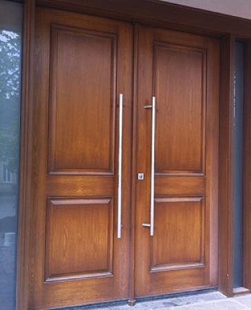 Windows and Doors Toronto-Fiberglass Doors-8 Foot Doors-8 Foot Modern Fiberglass  Wood Grain Double Doors with 2 Side Lites Installed by Windows and Doors Toronto