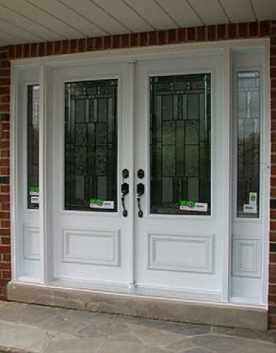Windows and Doors Toronto-Smooth Fiberglass Doors-Smooth  Doors, Stained Glass Design installed by Windows and Doors Toronto