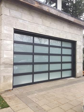Aluminium Garage Doors-Modern Garage Doors with Door Lites installed in Richmond Hill by modern-doors.ca