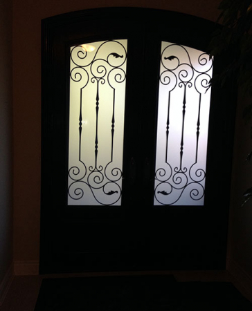 Arched Design Fiberglass Doors-Front Entry Doors-Arch-Design-Fiberglass-Doors-with-Iron-Art-glass-Installed in Richmond Hill
