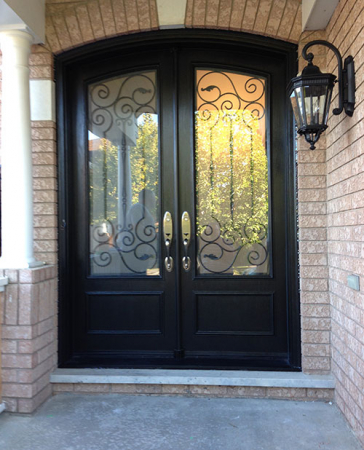 Arched Fiberglass Doors-Front Entry Doors-Arch Design Fiberglass-Doors-installation-with-Iron-Art-Design-Glass-Multi-Point-Locks-in-Markham