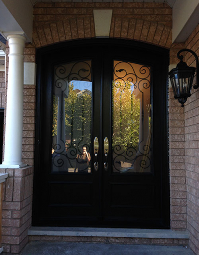 Arched Fiberglass Doors-Front Entry Doors-Arch-Fiberglass-Doors-with-Iron-Art-Design-and-Multi-Point-Locks-installed in Richmond Hill