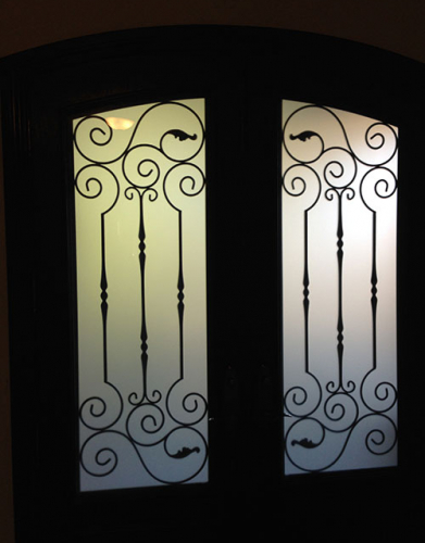 Arched Fiberglass Doors-Front Entry Doors-Arch-Fiberglass-Doors-with-Iron-Art-Design-installed in Richmond Hill