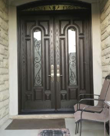 8 Panel  Custom Fiberglass Doors with 2 Door Lites and Arched Transom