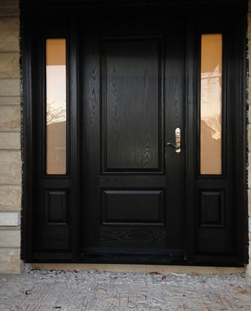Windows and Doors Toronto-Custom Front Doors-Custom Fiberglass Doors-Custom Fiberglass Doors- Wood Grain Fiberglass Door with 2 Side lites installed in Toronto by windowsanddoorstoronto.ca