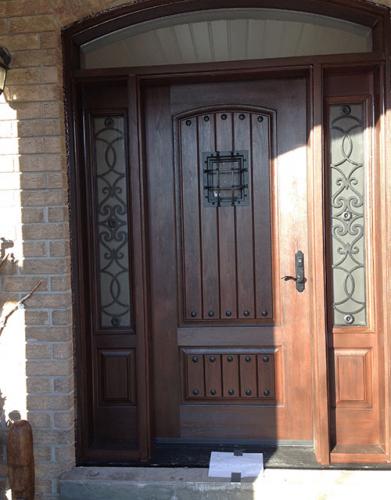 Windows and Doors Toronto-Rustic Doors-Fiberglass Rustic Doors-Rustic Door with 2 side lite Installed in Burlington by windowsanddoorstoronto.ca