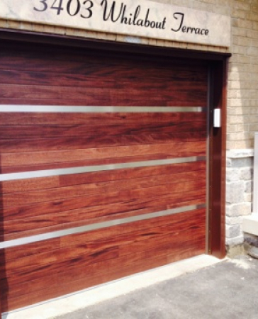 Windows and Doors Toronto-Fiberglass  Garage Doors-Custom Single Garage Door with Stainless Steel Design installed in Oakville