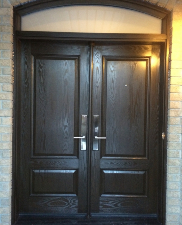 Windows and Doors Toronto-Custom Front Doors-Custom Fiberglass Doors-Custom doors-woodgrain Fiberglass doors with Transom installed in Thornhill by windowsanddoorstoronto.ca