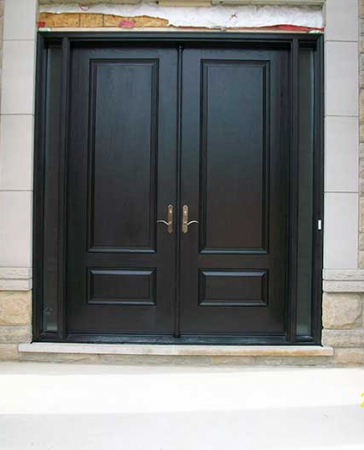 Executive Door-Front Entry Doors-Fiberglass Doors-Executive Doors-8-Foot-Double-Solid-Parliament-Front-Doors-with-2-Slim-SIde-Lihghts-and-Multi-Point-Locks-Installed-in-Custom-home-in-Richmondhill