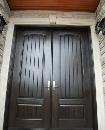 Executive Door-Front Entry Doors-Fiberglass Doors-Executive Doors-8-Foot-Fiberglass-Solid–Front-Parliament-Rustic-Double-Doors-with-Multi-Point-Locks-Installed-in-Aurora