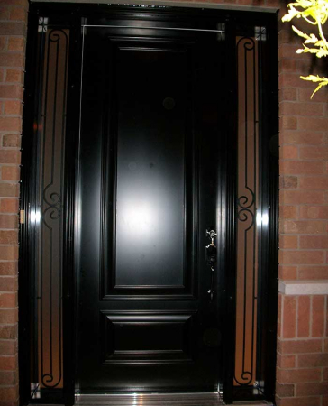 Executive Doors-Front Entry Doors-Fiberglass Doors-Executive Doors-8-Foot-Single-Solid-Front-Door-with-2-Slim-Iron-Art-Side-Lites-Installed-in-Oakville